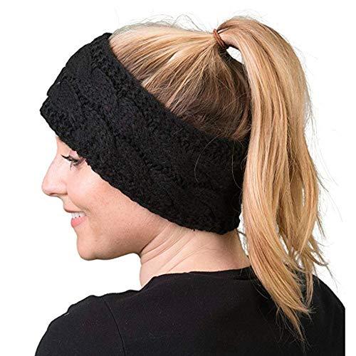 Women Vintage Yoga Headband Elastic Women Criss Cross Head Wrap Knotted Hair Band Turban Thick Headbands Twisted, Black