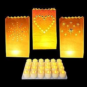 Pack 24 Linternas Decorativas de Papel Blanco con Diseños de Estrella, Corazón y Rayo de Sol - 24 Velas de Té LED por Kurtzy - Decoración Centro de Mesa para Bodas y Cumpleaños- Resistente al Fuego