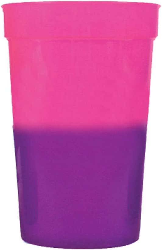 17oz Color Changing Stadium Cup, Set of 12, Pink to Purple - MADE IN USA