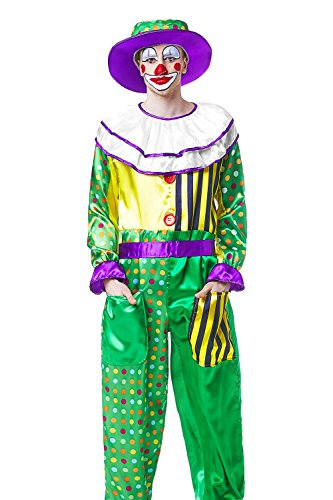 [Adult Men Clown Costume Сircus Jumpsuit and Hat Comic Fun Cosplay Entertainer Wear (Small/Medium, Green, Yellow, Purple)] (Circus Themed Costumes For Men)
