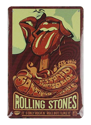 (Rolling Stones Rock n roll Band tin Metal Sign tin Retro Rustic Signs Outdoor Art Decor)