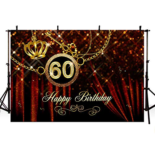 60th Birthday Color Scheme (MEHOFOTO Shiny Happy 60th Birthday Banner Photo Studio Booth Background Burgundy Sequin Curtain Gold Crown Party Decoration Supplies Backdrops for Photography)