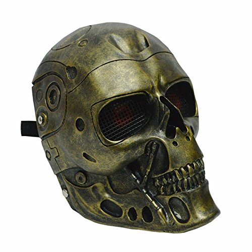Gold Terminator Helmet Masks Horror CS Paintball Ghost Creepy Resin Mask Masquerade Skull Party Full Face Superhero Movie Cosplay Costume Party Props -