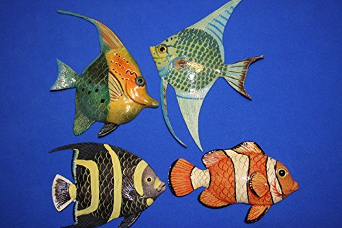 Salty Pelican Colorful Fish Nursery Wall Sculptures, 3-D Poly-resin 6 inch, Bundle 4 Fish