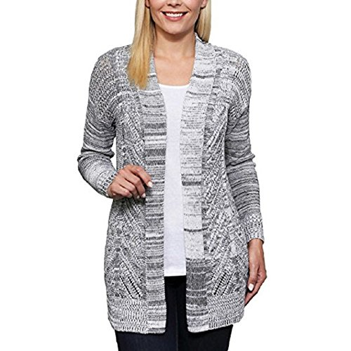 Leo and Nicole Womens Cardigan Long Sleeve Open Front Marled Rib Trim Pointelle Sweater, (Black Dove Marl, Small) Trim Open Cardigan