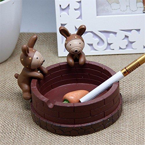 ZHAS Animals Ashtray Birds Monkey Ashtrays Resin Living Room Bedroom Household Smoking Cups, Rabbits by ZHAS