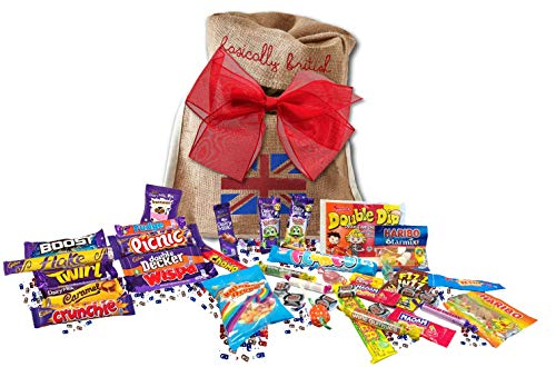 Great British Bag of sweets   15 BARS & 250G MIX OF RETRO CANDY   British Candy & Chocolate Gifts Cadbury Retro Candy Best of British Candy in Basically British Gift Bag (Regular)