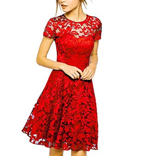 Autumn Lace Hollow Out Slim Party Dresses(Red) - 1
