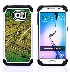 Dragon Case- Dise?¡Ào de doble capa pata de cabra Tuff Impacto Armor h??brido de goma suave de silicona cubierta d FOR Samsung Galaxy S6 G9200- BIRD FLYING FEATHERS TREE ART NATURE GREEN