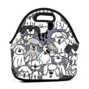 WONDERMAKE Women Men Kids Old English Sheepdogs Lunch Bags Insulated Zip Thermal Cooler Bag Portable Meal Package Lunch Box Package Picnic Outdoor Travel Fashionable Handbag Pouch 1