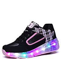 Kids Boy and Girl's LED Light Up Roller Shoes Wheel Skate Flashing Sneakers(Toddler/Little Kid/Big Kid)