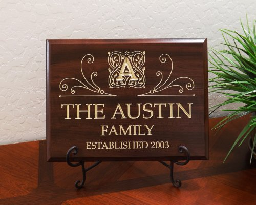 Personalized Sign with Monogram, Family Name and Year Established Decorative Carved Wood Sign Quote, Faux Cherry
