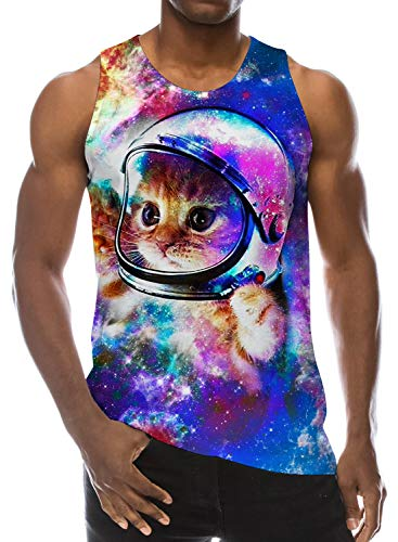 Men 3D Printed Graphic Tank Tops Galaxy Cat Space Design Funniest Athletic Sleeveless Summer Vest Top Tee M