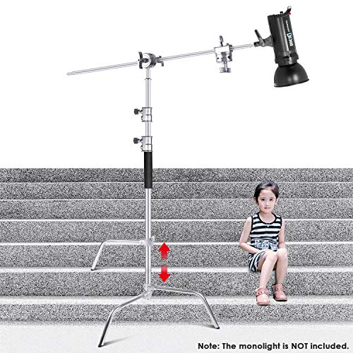 Studio Flash Heads (Neewer Upgraded Heavy Duty Stainless Steel C-Stand with Hold Arm and Grip Head - 58.6-121.6 inches Stand with One Adjustable Leg for Photography Reflectors, Softboxes, Monolights, Umbrellas)