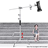 Neewer Upgraded Heavy Duty Stainless Steel C-Stand with Hold Arm and Grip Head - 58.6-121.6 inches Stand with One Adjustable Leg for Photography Reflectors, Softboxes, Monolights, Umbrellas