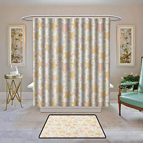 Kenneth Camilla01 Fabric Shower Curtain Stars,Abstract Pattern of Stars with Lines Vintage Heavenly Bodies Silhouettes, Pale Yellow Marigold,Waterproof Polyester Shower Curtain for Bathroom 108