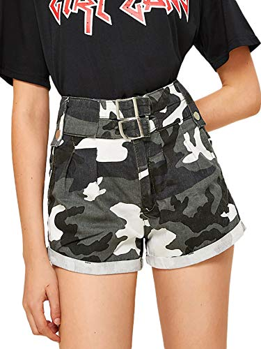 (WDIRARA Women's Camouflage Print High Waist Casual Roll Up Hem Denim Shorts Pant Multicolor-1 L)