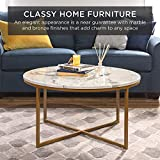 Best Choice Products 36in Faux Marble Modern Round