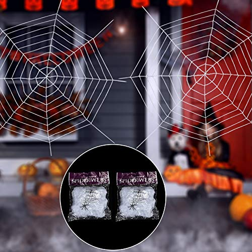 Jovitec 2 Pack 9 Feet Giant Stretch Spider Web and 2 Pieces Stretch Cobweb with Spiders for Indoor Outdoor Halloween Cosplay Party Decoration