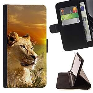 Momo Phone Case / Flip Funda de Cuero Case Cover - León Naturaleza Savannah ?frica Sunset Sun - Sony Xperia Z5 Compact Z5 Mini (Not for Normal Z5)