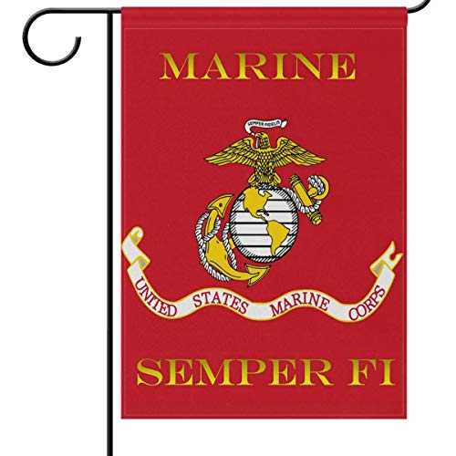 Mesllings US Marines Corps Flag Garden Flags 12 x 18 Double Sided, Red USMC Birthday Military Garden Yard Outdoor House Flag Banner for Party Home Decorations