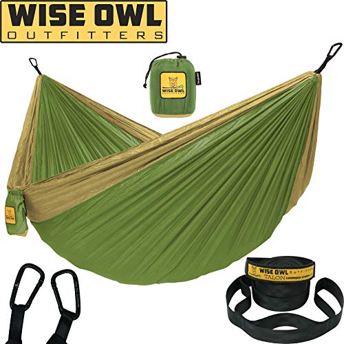 Wise Owl Outfitters Hammock for Camping Single & Double Hammocks Gear for The Outdoors Backpacking Survival or Travel - Portable Lightweight Parachute Nylon SO Green & - Bed Small Khaki
