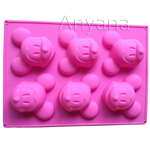 Anyana Mickey Mouse Silicone Cake Muffin Molds Cupcake Pan Soap 6 Cavity Sponge Base Chocolate Teacake Baking Tray