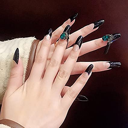 Classic Black French Nails 3d Green Diamond Long Round Fake Acrylic Nail Art Tips For Finger Decorations With Glue Sticker Z820 Amazon Co Uk Beauty