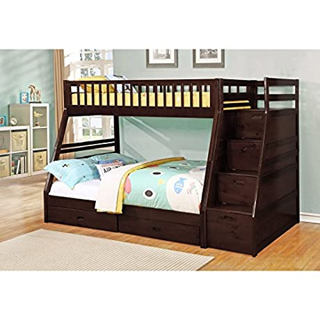 LYKE Home Mercedes Twin Over Full Staircase Bunk Bed Espresso Espresso Finish Wood Finish