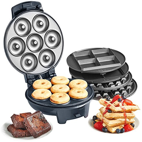 VonShef 3 in 1 Waffle, Brownie & Mini Doughnut Snack Maker with...