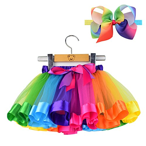 BGFKS Layered Tulle Rainbow Tutu Skirt for Newborn Baby Girls Photography Outfit Sets Dress Up with Colorful Headband (Rainbow, S,0-24 Months)]()