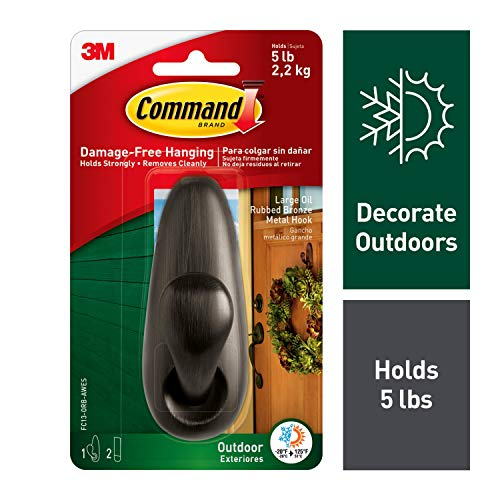 Outdoor Doors - Command Outdoor Oil Rubbed Bronze Forever Classic Metal Hook, 1 hook, 2 strips, Water-Resistant Adhesive, Decorate Damage-Free (FC13-ORB-AWES)