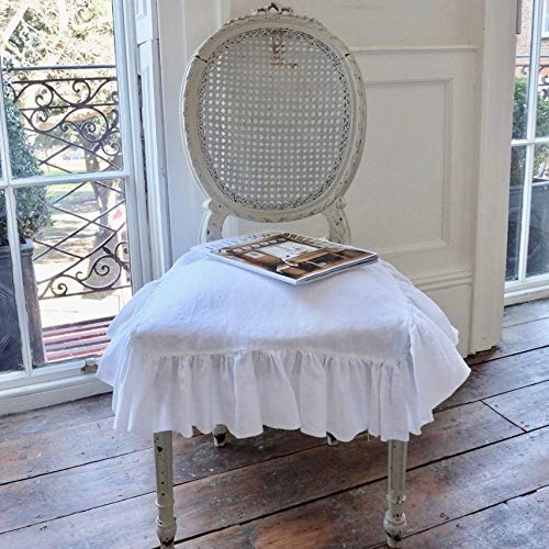 Chair Covers, Linen Slip Cover, Chair Slipcovers, Ruffled on 4 sides with ties (no pad included - just a slip cover) - French Country Chair Cushions