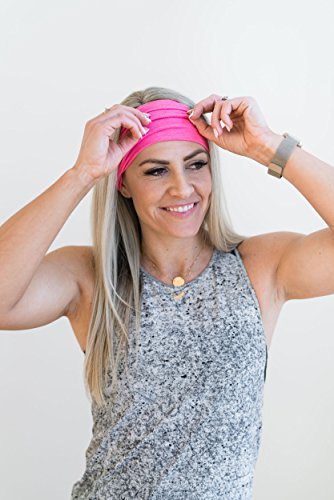 Maven Thread Women's Headband Yoga Running Exercise Sports Workout Athletic Gym Wide Sweat Wicking Stretchy No Slip 2 Pack Set Hot Pink SIREN by by Maven Thread (Image #3)
