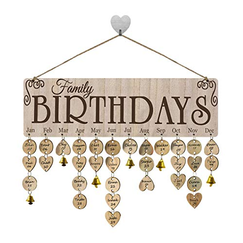 FamGift Birthday Gifts for Moms Dads Family Wooden Calendar Plaque Wall Hanging Board Wooden Birthdays Calendar Wooden Board DIY Birthday Presents Birthday Tracker Plaque for Family&Friends&Classroom (Wall Plaques Family)