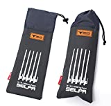 IUME 4 Pack / 8 Pack / 10 Pack Black Heavy Duty High Strength Steel Camping Tent Stakes Peg Unbreakable and Inflexible for Outdoor Trip Hiking Gardening with Oxford Fabric Pouch 11.8inch