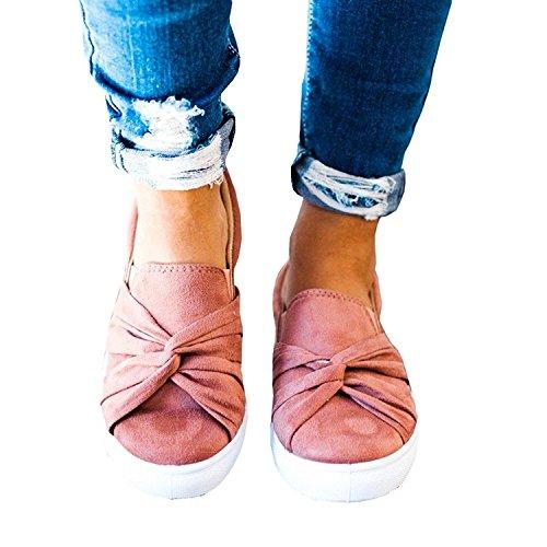 Mocassin Blending Mocassins Femme Slip Plat Top Ruched Noeud Sneaker Mode Rose