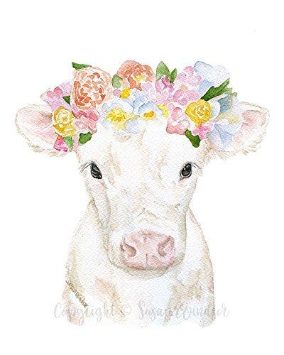 Cow Calf Floral Crown Watercolor Print White Farm Animal