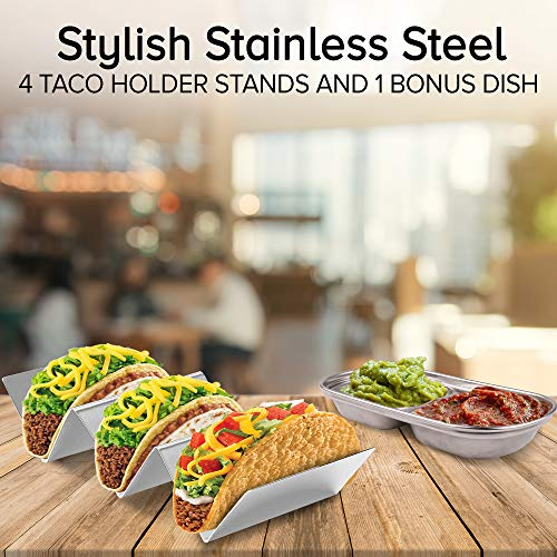 Roklur Premium Taco Holder Stainless Steel - 4 Pack Set - Safe for Oven Baking, Grill, and Dishwasher Tortilla Rack Holders for Party, Truck, and Restaurant - Bonus Serving Tray Dish by Roklur (Image #1)