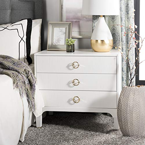 Safavieh FOX6232C Home Collection Lorna 3 Drawer Contemporary Night Stand Nightstand, White ()