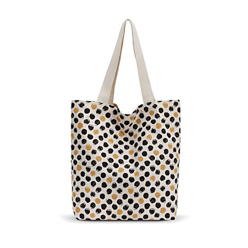 (By Design Black & Mustard Polka Dot Market Tote Bag Reusable Grocery Shopping)