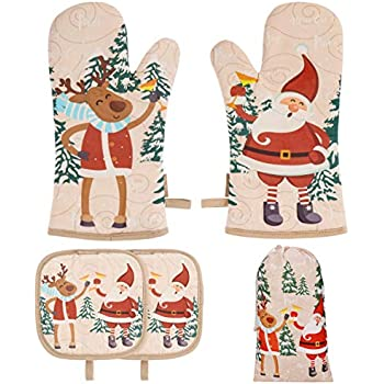 BESTonZON Cute Christmas Oven Mitt - 1 Set Heat Resistant Oven Gloves and Pot Holders with Christmas Designs for Xmas Kitchen Decoration