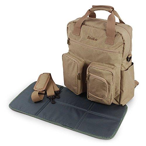 Becko 3-In-1 Multi-functional Diaper Bag/Travel Padded Backpack/Adjustable Shoulder Bag/Tote Handbag with Changing Pad and Insulated Pocket (Regular edition)