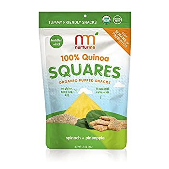 NurturMe Organic Quinoa Squares With A Daily Serving of Probiotics, Pineapple + Spinach, 1.75 Ounce (Pack of 6)