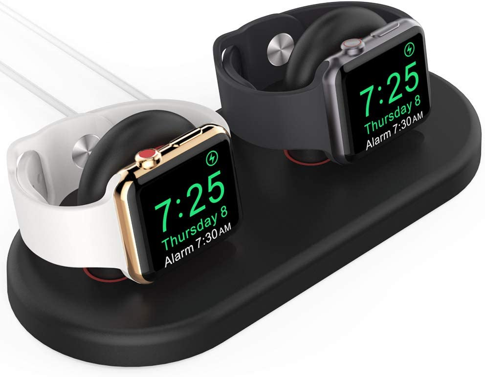 AhaStyle Dual iWatch Charger Stand Dock Detachable ABS Charging Holder Compatible with Apple Watch Series SE/6/5/4/3/2/1(44/42/40/38mm), Supports Nightstand Mode(Black)