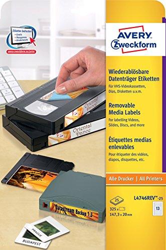 Avery Zweckform L4746REV-25 Etiketten für VHS-Videokassetten (A4, 325 Stück, 147,3 x 20 mm) 25 Blatt weiß