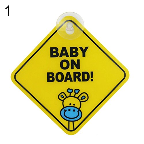 ZBmiluddeer Baby on Board Car Warning Safety Suction Cup Sticker Waterproof Notice Board XP01 from ZBmiluddeer