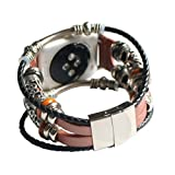 Fullfun Vintage Leather Bracelet Wristband Band Strap for Apple Watch Series 1/2/3 42mm, Easy to Install and Remove (Rose Gold)