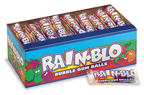 Rain-blo Bubble Gum Balls, 0.53 Ounce Tube, Pack of 48]()