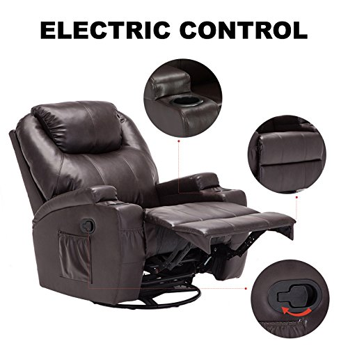 Murtisol Massage Recliner Lounge with Heat and Massage Vibrating Sofa Chair with Quality PU Leather (Brown) by Murtisol (Image #6)